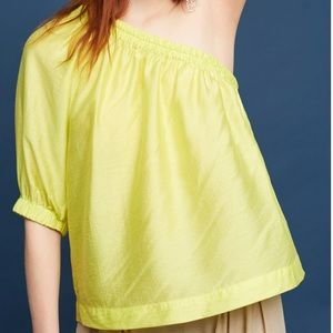 Maeve Leonie Silk One Shoulder Chartreuse Top